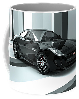 Jaguar F-type - Black Retro Coffee Mug
