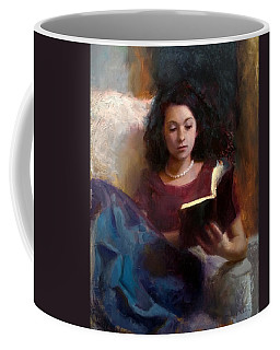 Coffee Mug featuring the painting Jaidyn Reading A Book 1 - Portrait Of Young Woman by Karen Whitworth