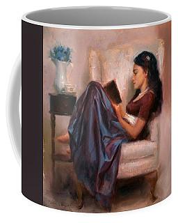 Jaidyn Reading A Book 2 - Portrait Of Woman Coffee Mug by Karen Whitworth