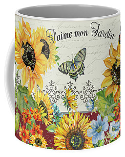Coffee Mug featuring the painting Jaime Mon Jardin-jp3990 by Jean Plout
