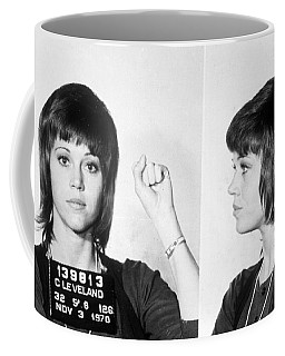 Jane Fonda Mug Shot Horizontal Coffee Mug by Tony Rubino