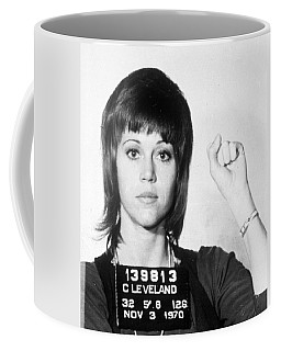 Jane Fonda Mug Shot Vertical Coffee Mug by Tony Rubino