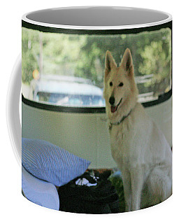 Jane Riding In The Bus Camping At Cape Lookout Coffee Mug