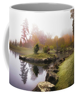Japanese Garden In Early Autumn Fog Coffee Mug