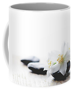 Jasmine Flower On Spa Stones Coffee Mug