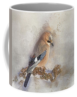 Jay In Falling Snow Coffee Mug