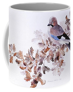 Jay On A Dried Oak Branch Coffee Mug