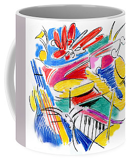 Coffee Mug featuring the drawing Jazz Art by Rosanne Licciardi