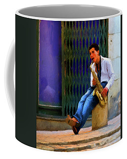 Coffee Mug featuring the photograph Jazz In The Street by David Dehner