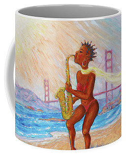 Coffee Mug featuring the painting Jazz San Francisco by Xueling Zou