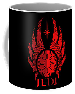 Jedi Symbol - Star Wars Art, Red Coffee Mug