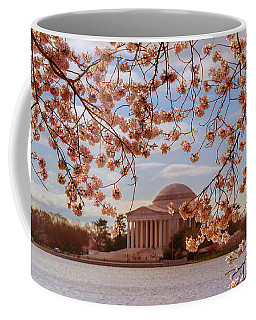Coffee Mug featuring the photograph Jefferson Memorial And Cherry Blossom by Rima Biswas