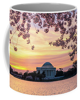 Jefferson Memorial At Sunrise With Blossoms Coffee Mug