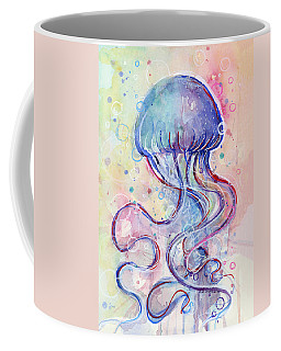 Jelly Fish Watercolor Coffee Mug