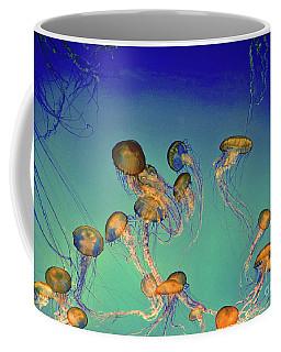 Jellyfish On Teal Coffee Mug