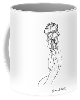 Jellyfish Sketch - Black And White Nautical Theme Decor Coffee Mug