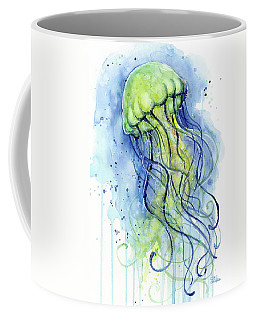 Jellyfish Watercolor Coffee Mug