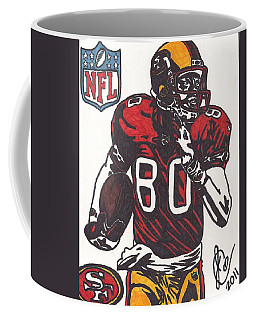 Coffee Mug featuring the drawing Jerry Rice by Jeremiah Colley