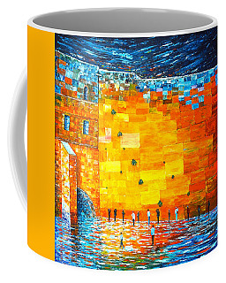 Coffee Mug featuring the painting Jerusalem Wailing Wall Original Acrylic Palette Knife Painting by Georgeta Blanaru