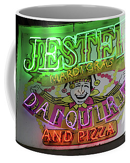 Coffee Mug featuring the photograph Jester Mardi Gras Sign by Steven Spak
