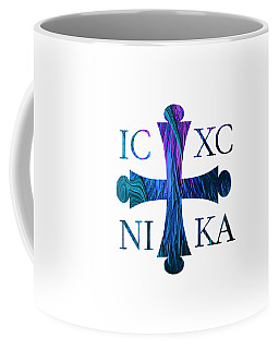 Coffee Mug featuring the digital art Jesus Christ Victor Cross With Sunrise Reflection Fractal Abstract by Rose Santuci-Sofranko