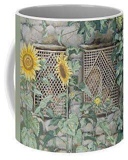 Jesus Looking Through A Lattice With Sunflowers Coffee Mug