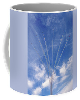 Coffee Mug featuring the photograph Jet Planes Formation In Sky by Pradeep Raja Prints