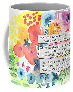 Jewish Home Blessing- Floral Watercolor Coffee Mug