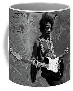 Coffee Mug featuring the photograph Jimi Hendrix Purple Haze B W by David Dehner