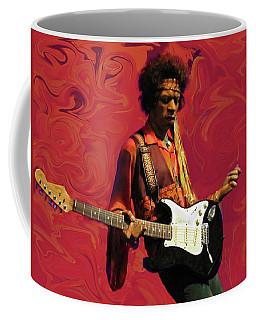 Coffee Mug featuring the photograph Jimi Hendrix Purple Haze Red by David Dehner