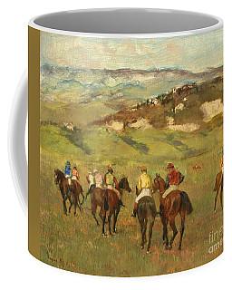 Jockeys On Horseback Before Distant Hills Coffee Mug
