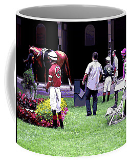 Coffee Mug featuring the digital art Jockeys Painting by  Newwwman