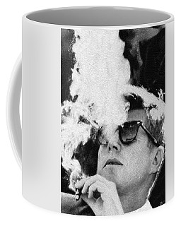 John F Kennedy Cigar And Sunglasses Black And White Coffee Mug