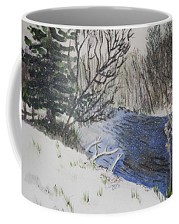 Coffee Mug featuring the painting Johnson Vermont In Spring Snow Storm by Donna Walsh