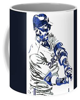 Coffee Mug featuring the mixed media Jose Bautista Toronto Blue Jays Pixel Art by Joe Hamilton