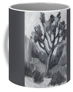 Coffee Mug featuring the painting Joshua Tree Black And White Study by Diane McClary