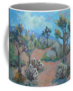 Coffee Mug featuring the painting Joshua Trees And Cholla Cactus by Diane McClary