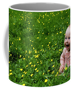 Joyful Baby In Flowers Coffee Mug