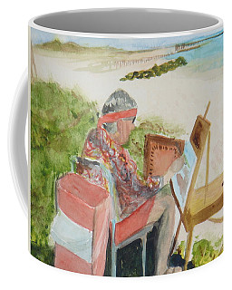 Coffee Mug featuring the painting Julia Painting At Boynton Inlet Beach  by Donna Walsh