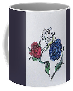 Coffee Mug featuring the painting July 4th Roses by Clyde J Kell