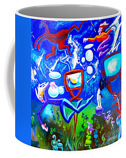 Jumping Through Tv Land Coffee Mug by Genevieve Esson