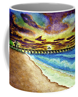 June Beach Pier Florida Seascape Sunrise Painting A1 Coffee Mug