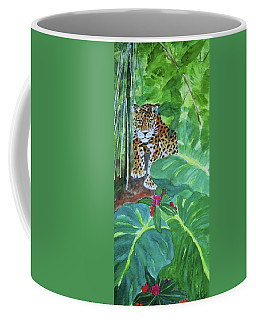 Coffee Mug featuring the painting Jungle Jaguar by Ellen Levinson