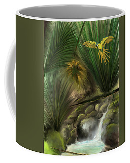 Coffee Mug featuring the digital art Jungle Parrot by Darren Cannell
