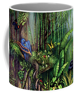 Coffee Mug featuring the painting Jungle Talk by Lynn Buettner