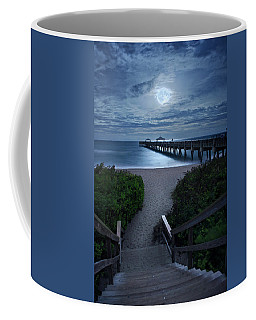 Juno Pier Stairs To Beach Under Full Moon Coffee Mug