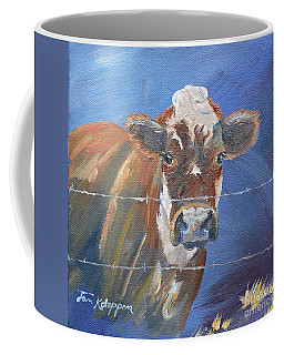 Coffee Mug featuring the painting Just A Big Happy Cow On A Little Square Canvas by Jan Dappen