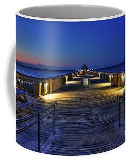 Coffee Mug featuring the photograph Just Before Dawn Folly Beach Pier Charleston Sc Sunrise Art by Reid Callaway