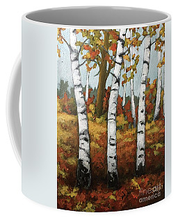 Coffee Mug featuring the painting Just Birches by Inese Poga