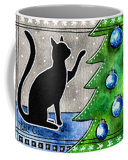 Just Counting Balls - Christmas Cat Coffee Mug